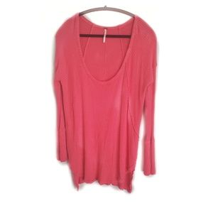 FP Distressed Pink Waffle Long Sleeve Thermal